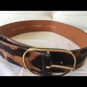 Calkskin leopard belt. Barney's exclusive.